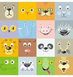Set of Animal Faces Flat Style vector