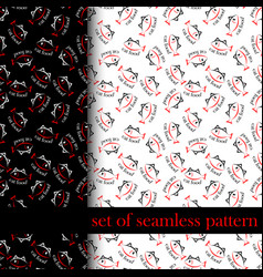 set of seamless pattern with sing or symbol of cat vector image vector image