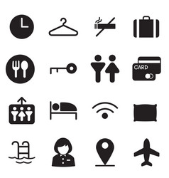 silhouette hotel hostel motel icons vector image