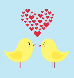simple card of two funny cartoon chickens in love vector image