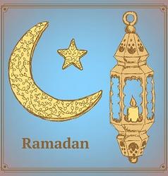 Sketch Ramadan symbol in vintage style vector image