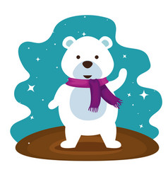 snow bear with scarf to christmass celebrate vector image