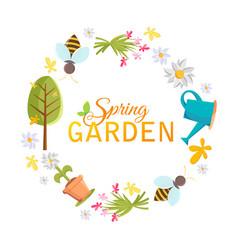 Spring garden design circle frame vector