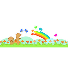 squirrel and rainbow seamless banner vector image