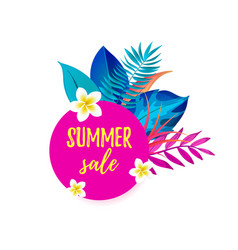 summer sale cartoon speech bubble with realistic vector image