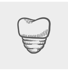 Tooth implant sketch icon vector