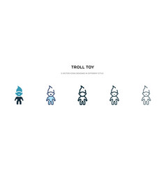 Troll toy icon in different style two colored vector