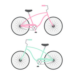 two pastel mint and pink city bicycle on white vector image