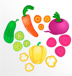Vegetables whole and sliced into pieces vector