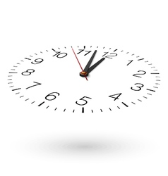 View from one side of clock face placed on white vector