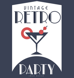 vintage retro party design element for poster vector image