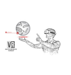Vr wireframe headset man with bacteria vector