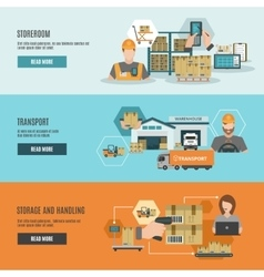 Warehouse storeroom interactive flat banners set vector image