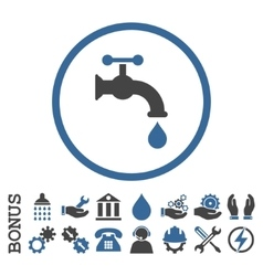 Water Tap Flat Rounded Icon With Bonus vector image
