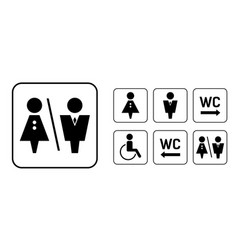 Wc sign icon in square set washroom sign vector