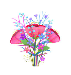 Wild flowers poppy bouquet flat vector