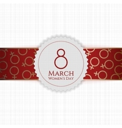 Womens Day white Banner and red golden Ribbon vector
