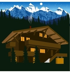 Wooden chalet in mountain alps at night vector