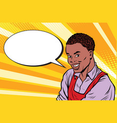 worker in apron says comic book bubble vector image