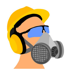 Worker with helmet gas mask and protect glasses vector