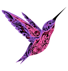 Humming bird violet color vector image vector image