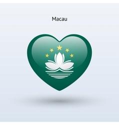 Love macau symbol heart flag icon vector