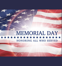 memorial day poster with the flag of usa vector image vector image