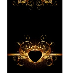 ornamental frame with golden heart vector image vector image