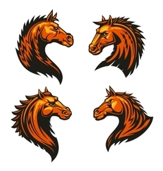 Tribal fire horse mascots with spiky brown mane vector image vector image