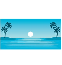 tropical beach with palm trees vector image