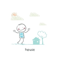 A man and a house vector image vector image