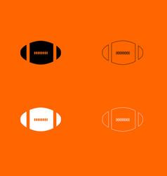 american football ball black and white set icon vector image vector image