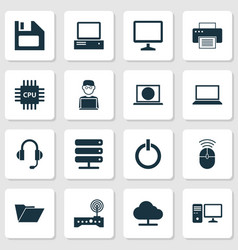 device icons set collection of printing machine vector image vector image