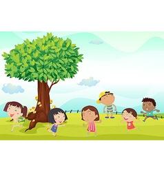 Six children running in park vector image vector image