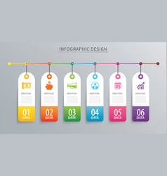 infographics tag banner 6 option template vector image