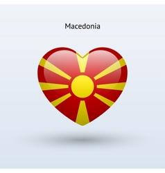 Love macedonia symbol heart flag icon vector