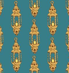 Sketch Ramadan lantern in vintage style vector image