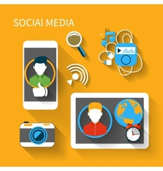 Social media network connection concept vector image