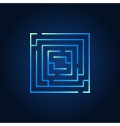 Square labyrinth blue icon vector