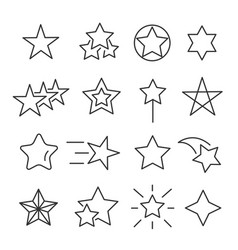 stars line icon set vector image vector image