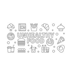 unhealthy food outline banner or vector image
