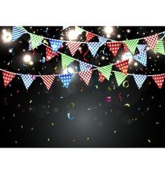 Birthday background with bunting and colorful conf vector image