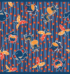 cute jungle animals seamless pattern vector image