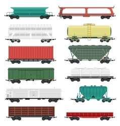 Train carriages set vector image