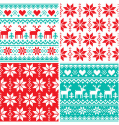 winter pattern set christmas seamless design vector image vector image