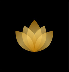 Abstract gold and transparent lotus logo vector