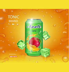 alumimium tin of apple juice dink advertising vector image