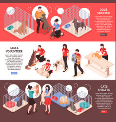 Animal shelter isometric banners vector