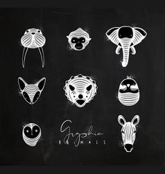 Animals graphic authentic vector