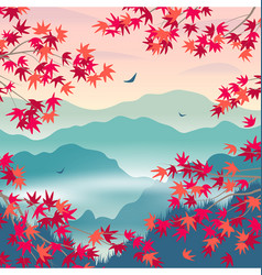 Autumn landscape with mountains and japanese vector